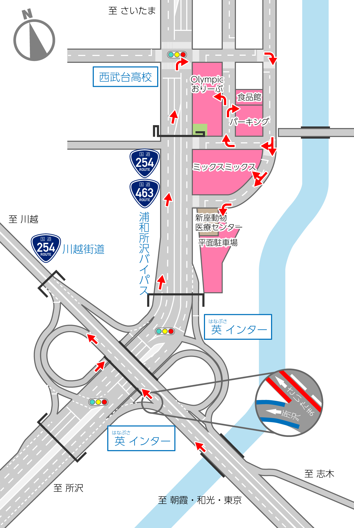 英インター詳細地図(朝霞方面から)