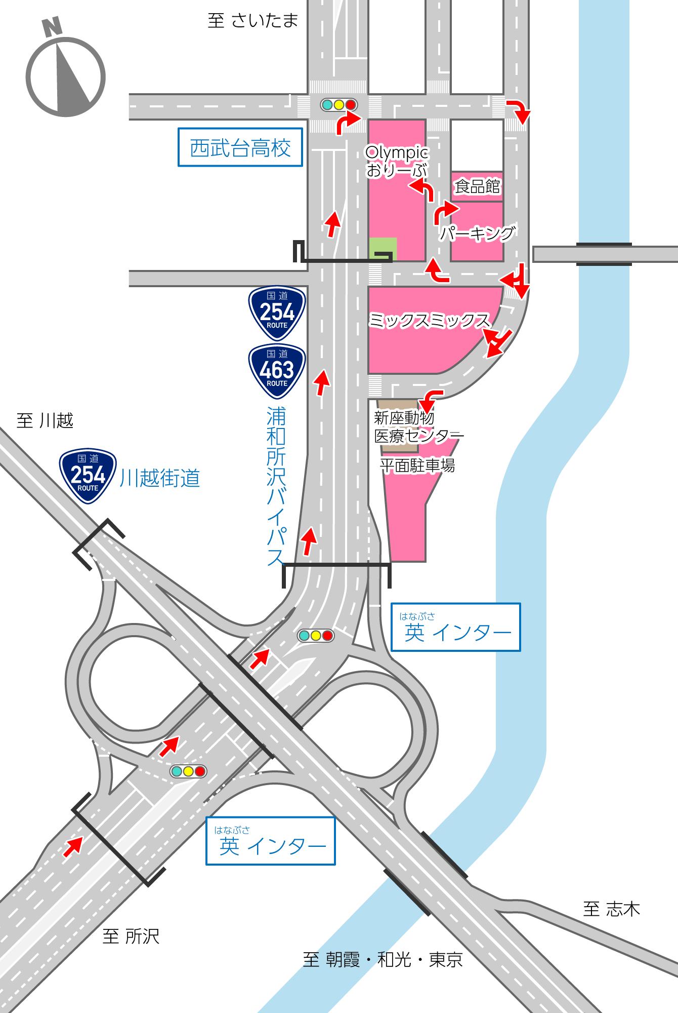 英インター詳細地図(所沢方面から)